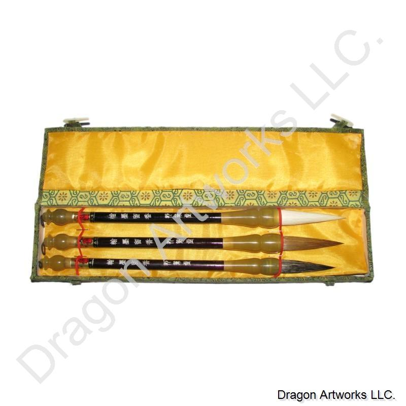 Set of Three Chinese Calligraphy Brushes