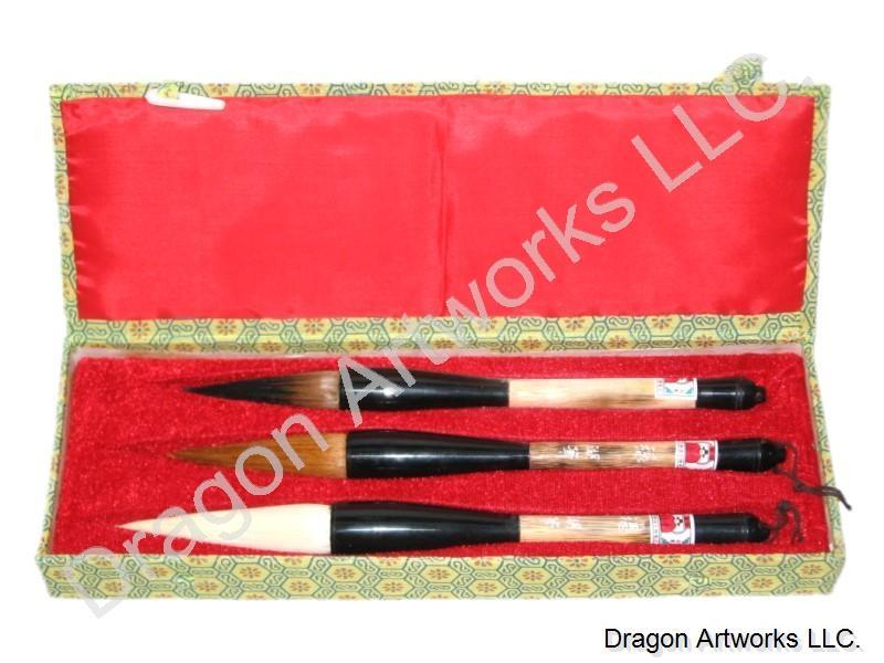 Three Large Chinese Calligraphy Brushes Set
