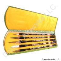 Chinese Calligraphy Brush Set of Five Natural Hair Brushes